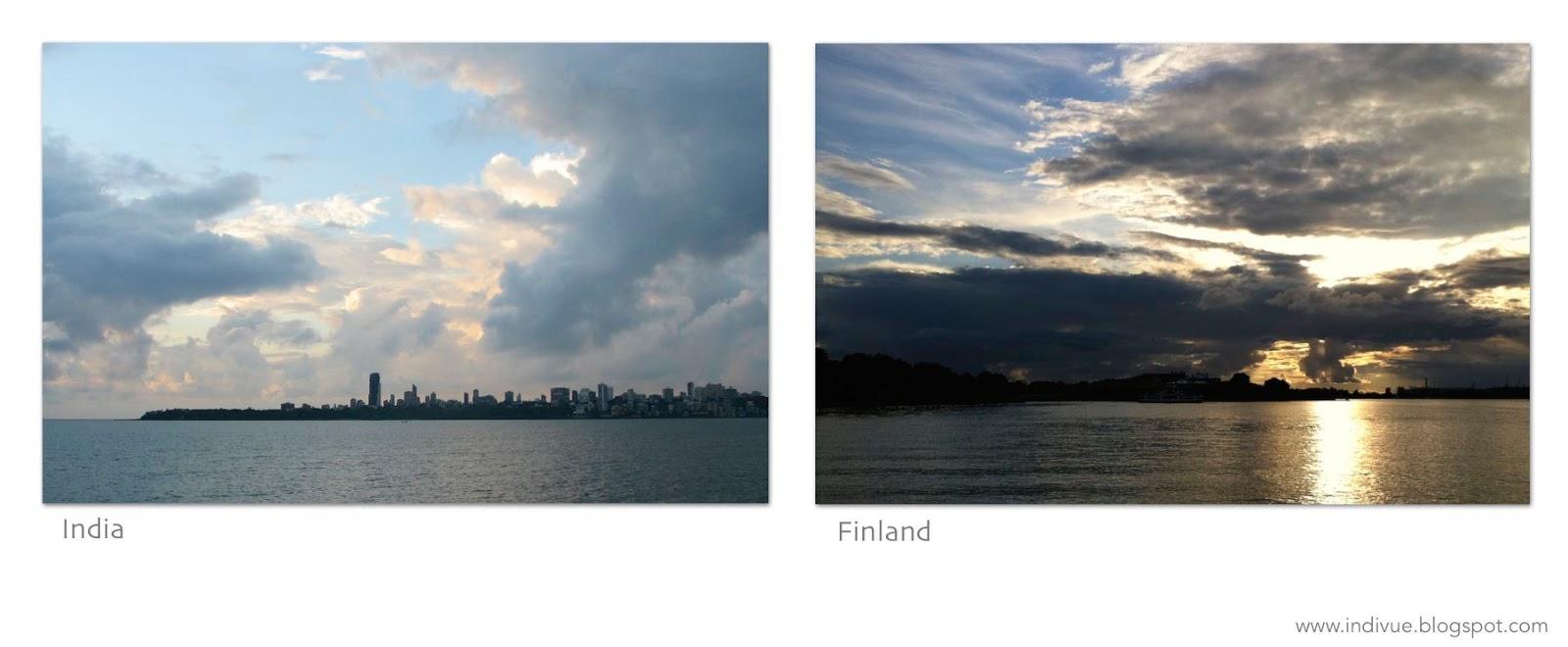 Mumbain siluetti ja Helsingin siluetti kera auringonlaskun