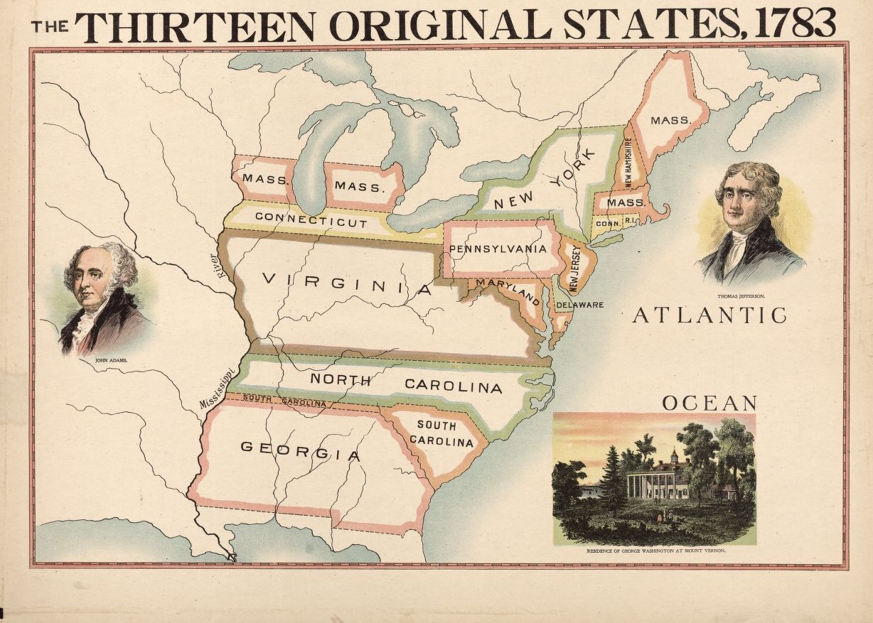 The Thirteen Original States, 1783