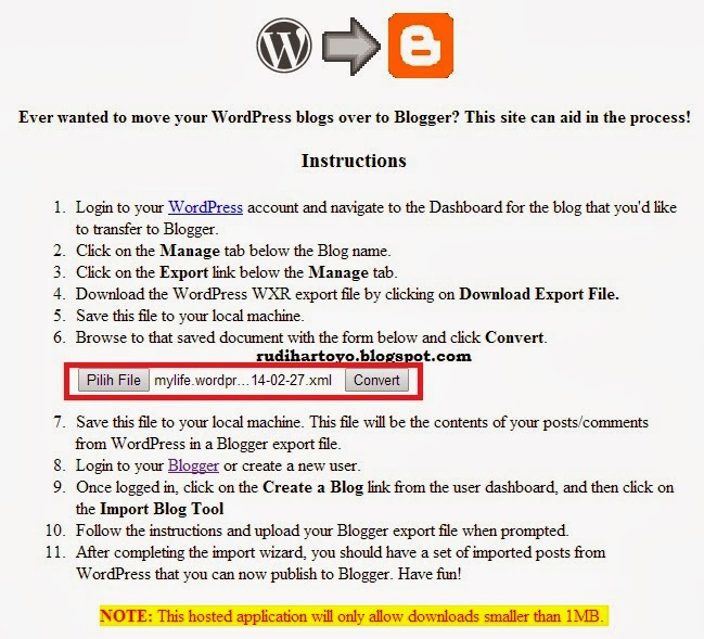 wordpress to blogspot
