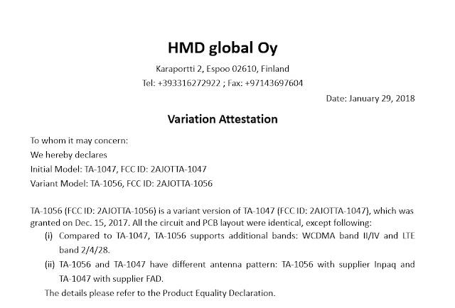 Nokia -TA-1056 passes FCC