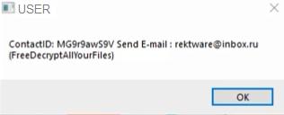 Rektware Ransomware note