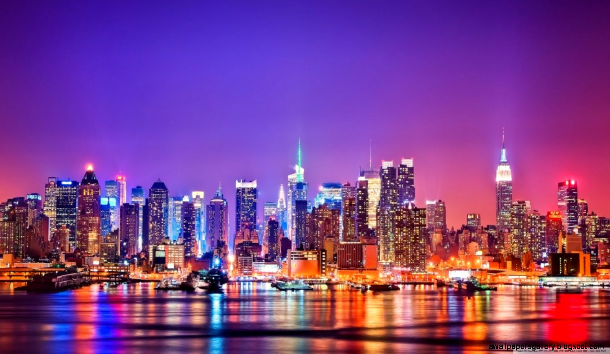 City skyline at night hd wallpapers gallery - New york skyline computer wallpaper ...
