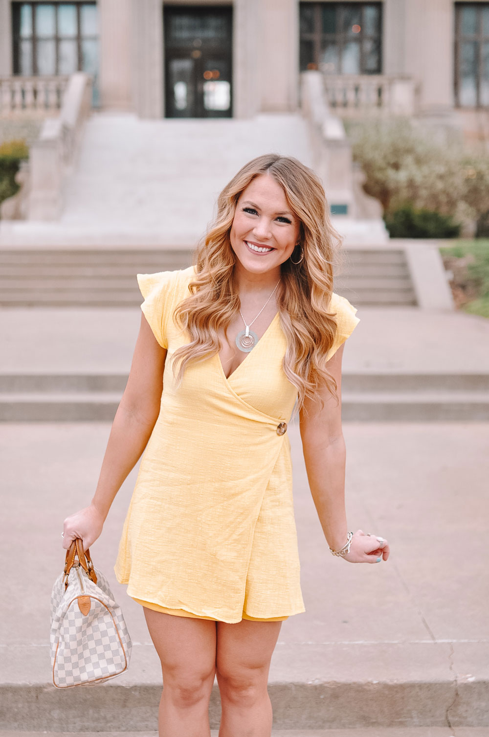 Amanda Martin of Amanda's OK styles Roma Designer Jewelry for an Easter Dress look