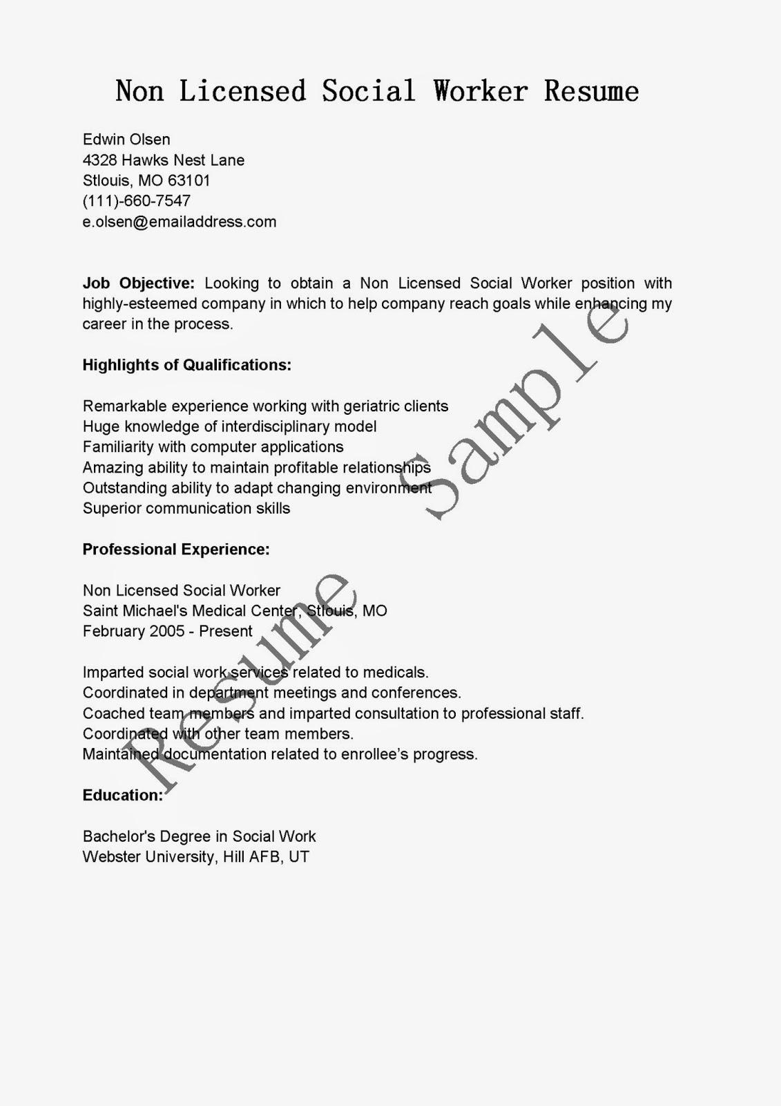 resume samples  non licensed social worker resume sample