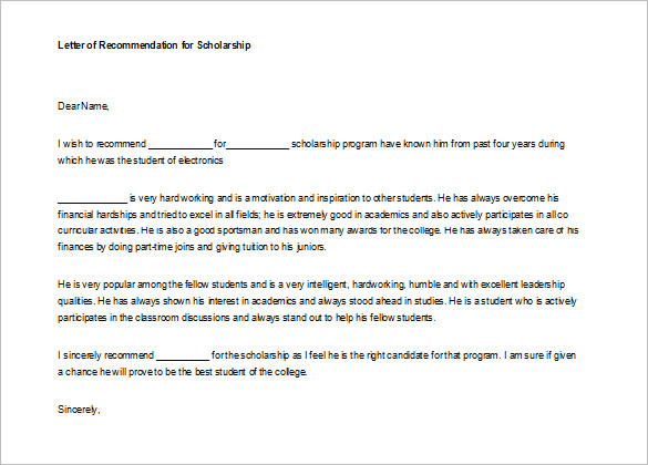 letter of recommendation for student free templates download