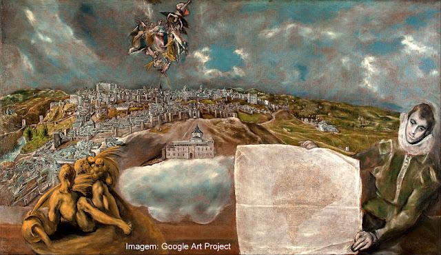 """Tela de El Greco: """"Vista e Mapa de Toledo"""""""
