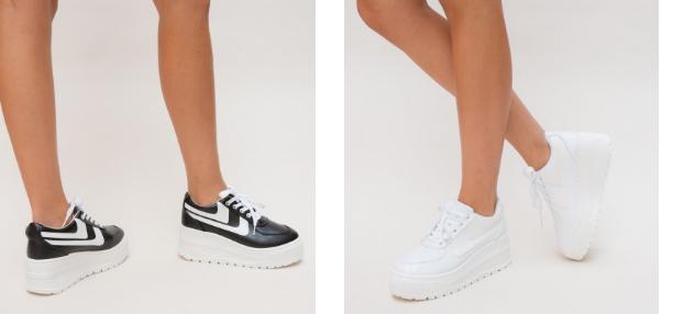 Adidasi cu platforma negri, albi de primavara ieftini