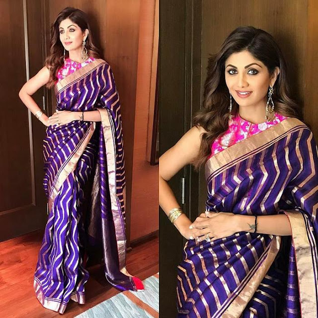 Shilpa Shetty Purple Stripes Saree