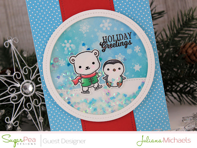 Detail image - Holiday Greetings Christmas Shaker Card by Juliana Michaels featuring Eskimo Kisses Stamp Set by Sugar Pea Designs