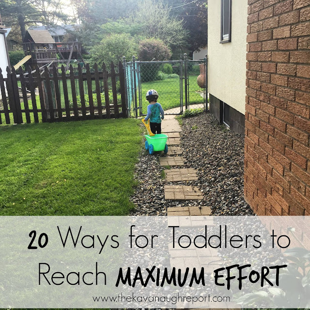 Toddlers need and crave heavy work as they learn to move their body. Here are 20 Montessori ways for toddlers to reach maximum effort.