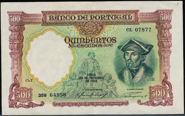 Portugal Banknotes 500 Escudos banknote 1942 Damião de Góis