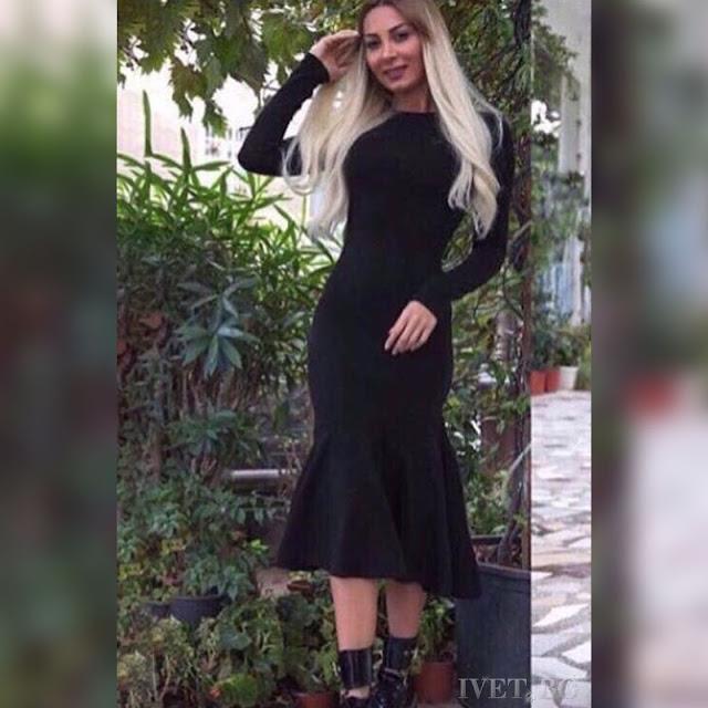 Μακρυμάνικο μίντι μαύρο φόρεμα CAROLA BLACK