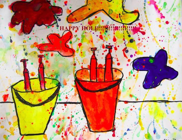 Holi painting watercolour