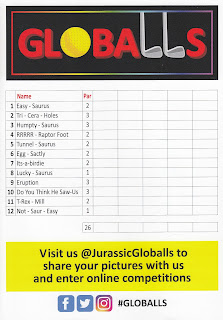 The scorecard at Jurassic Globalls is nice, big, colourful and high quality