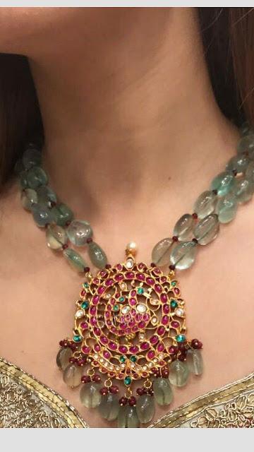 Light Emerald Beads and Kundan Locket