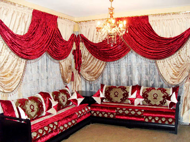 luxury window curtains for living room in red white color with majlis sectional sofa set arabic style curtains ideas