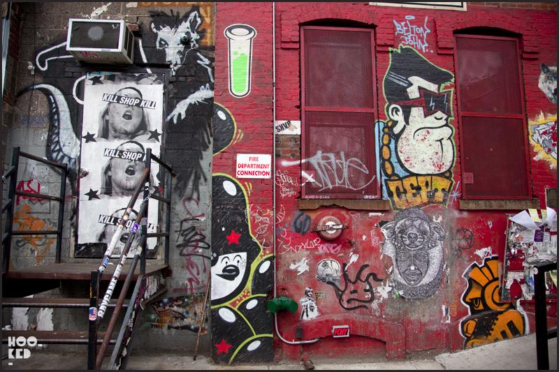 Williamsburg Street Art wall of various artists