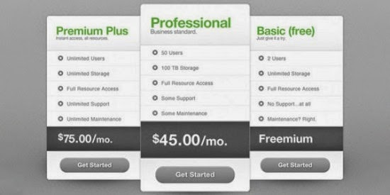 Free PSD Pricing Table