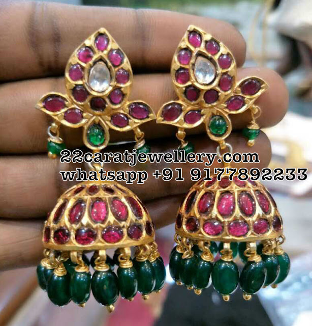 Silver Black Thread Mango Set Jhumkas