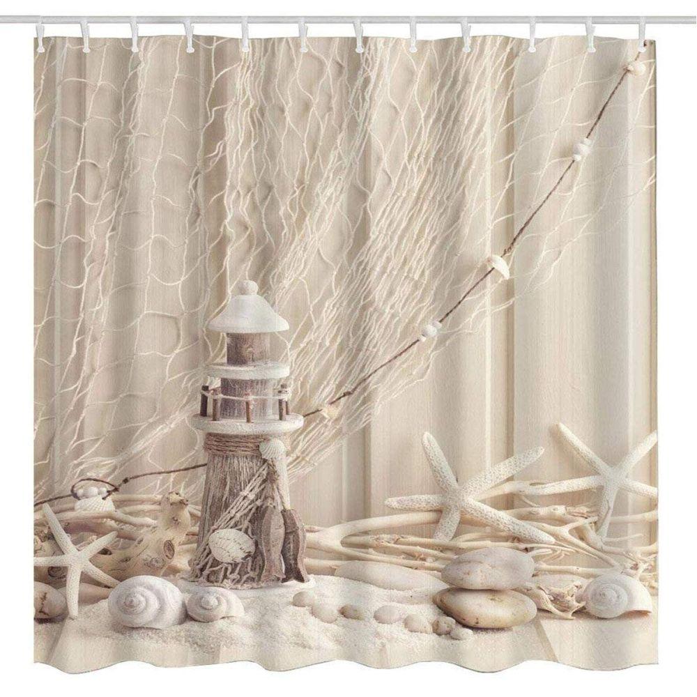 Nautical seashell decor shower curtain