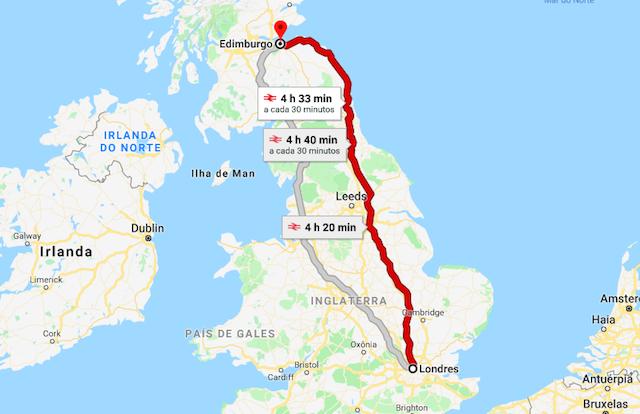 Mapa da viagem de trem de Londres a Edimburgo