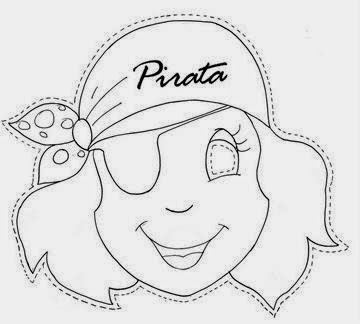 Pirate Girl:  Free Mask Template.