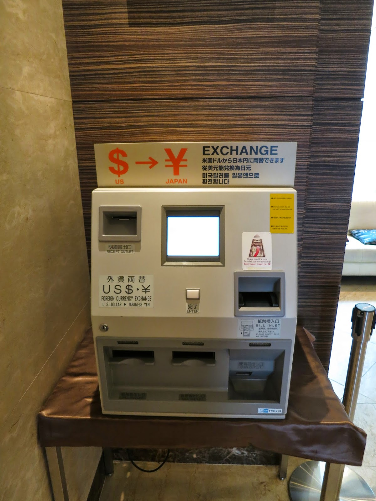 Automated Currency Cash Exchange machine,Tokyo Hotel Lobby. Tokyo Consult. TokyoConsult.
