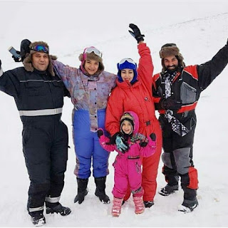 Ahmed Saad and Somaya El Khashab take it easy on skiing (photos)