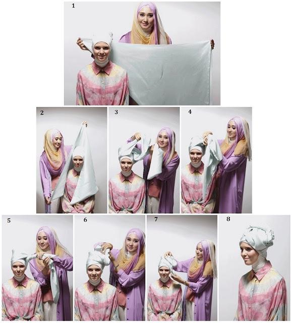 Tutorial Hijab Dian Pelangi Segi Empat / Segi Tiga Turban Rose