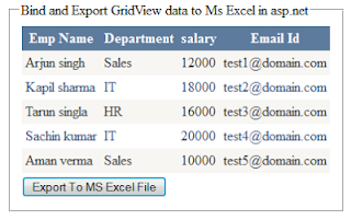 Bind and Export GridView data to Ms Excel in asp.net