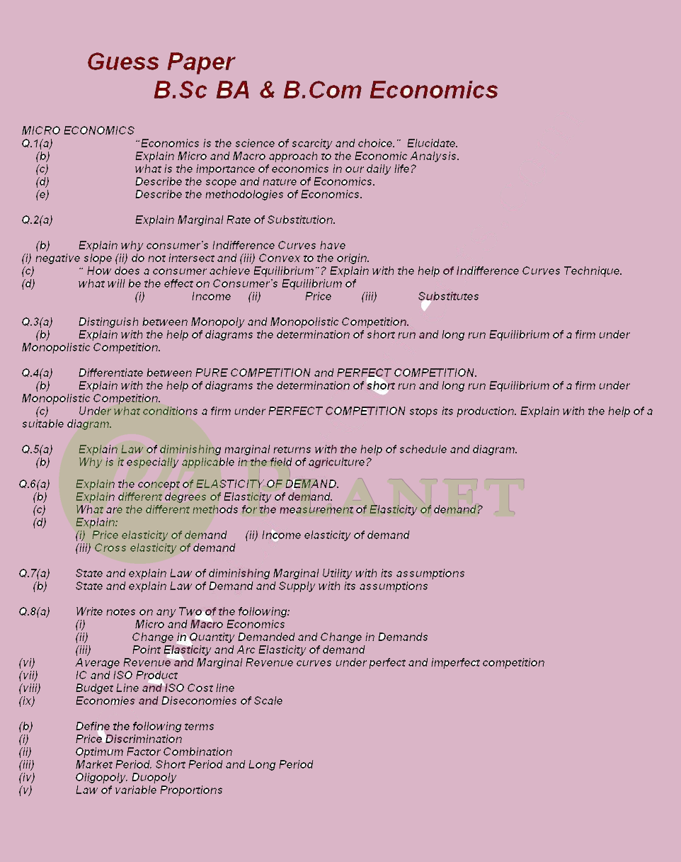 Economics Guess Paper for BA BSc & B.Com