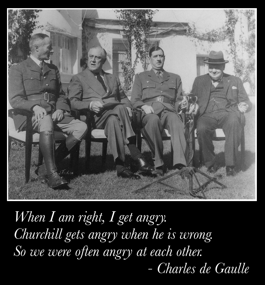 Rival French leaders Henri Giraud and Charles de Gaulle met with Franklin D. Roosevelt and Winston Churchill (Casablanca Conference, 14 January 1943)