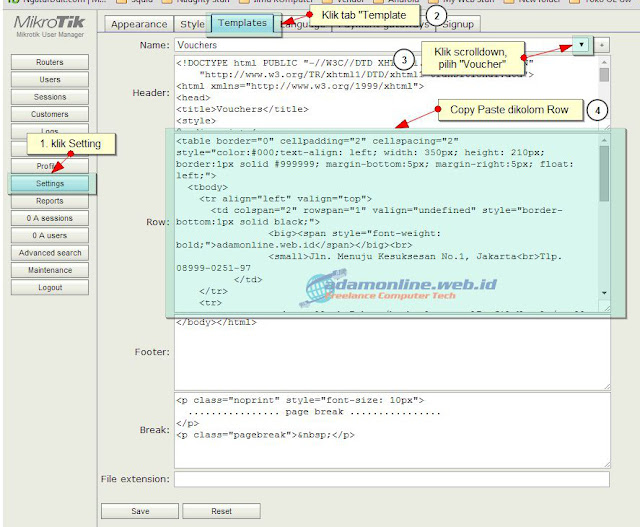 Cara Mengganti Voucher Template UserManager Hotspot MikroTik