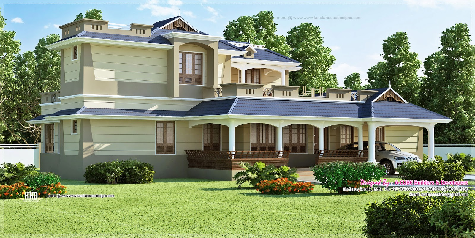 Luxury sloping roof 5 bedroom villa exterior home kerala for Sloped roof house plans in india
