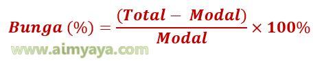 Gambar Rumus menghitung Bunga : Persentase Bunga (%) = (Total  – Modal) / Modal x 100%