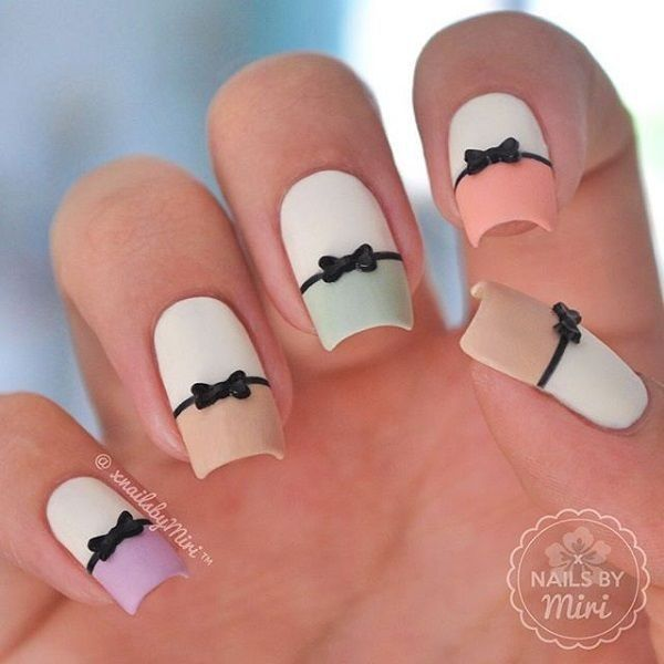Stylish and cute nail designs with bows and diamonds for girls stylish and cute nail designs with bows and prinsesfo Choice Image