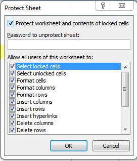 protect sheet dialog box