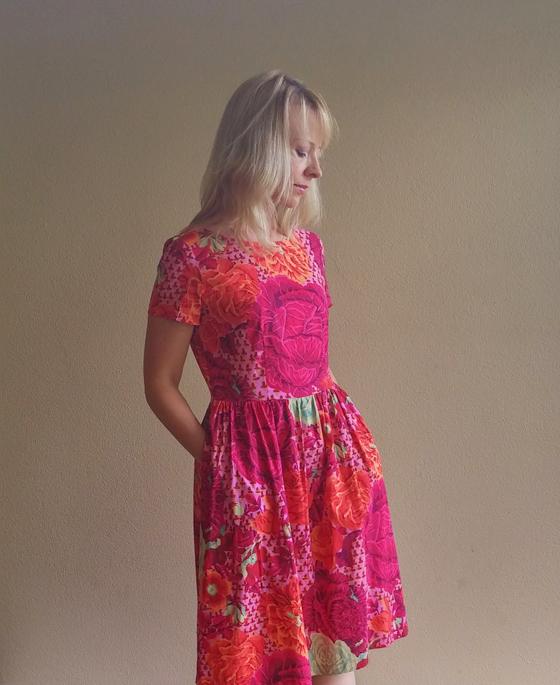 Emery dress by Christine Haynes in Kaffe Fassett Cabbage Roses Fuchsia
