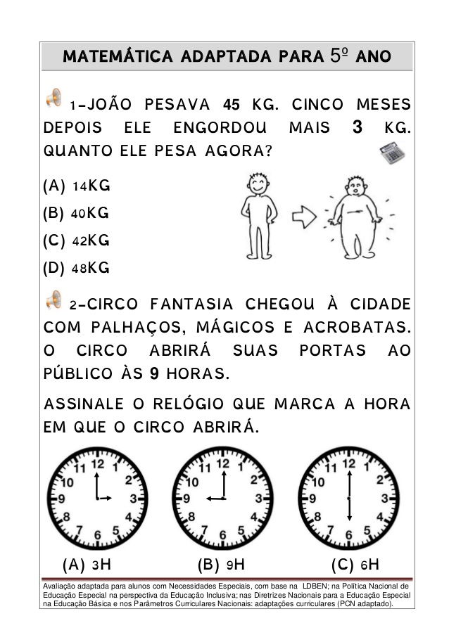 Avaliacao De Matematica Adaptada Para 5º Ano Atividades De