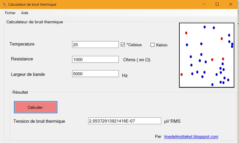 Electronique application pour le calcul du bruit thermique - Application pour prendre la temperature ...