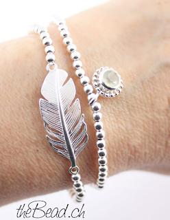 prehnit perlenarmband mit feder armband zusammen aus 925 sterling silber perlen von thebead dem schweizer schmuck onlineshop aus der schweiz