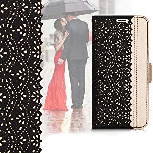 Phone XR Wallet Case, [Luxurious Romantic Carved Flower] Leather Wallet Case [Inside Makeup Mirror]