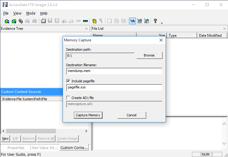 AccessData FTK Imager, Memory Capture