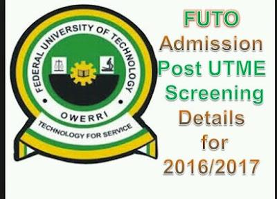 Futo Admission/departmental cut off marks 2016/2017