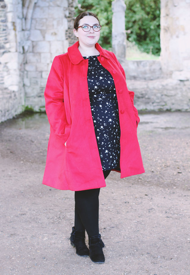 La Redoute Red Coat Star Print Dress