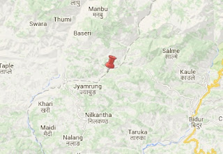 Earthquake epicenter map of Dhading