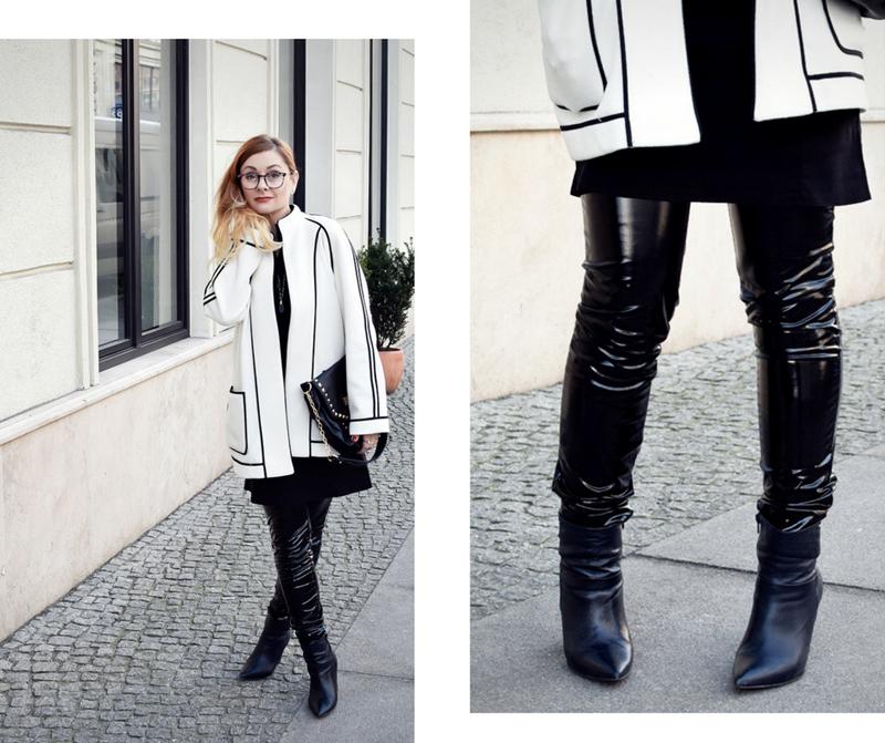 Schwarz Weiß Look mit Blazer und Lackleder