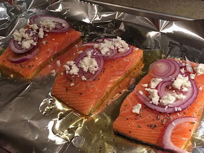 GF Salmon topped with Feta & Red Onion