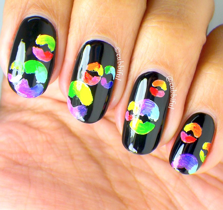 Piggieluv Rainbow Bubbles Nail Art: Cubbiful: The Digit-al Dozen Does Rainbows: Day 3