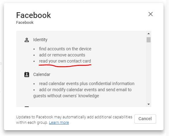 تطبيق الفيسبوك يأخذ تصريح بالإطلاع على جميع الحسابات على جهازك